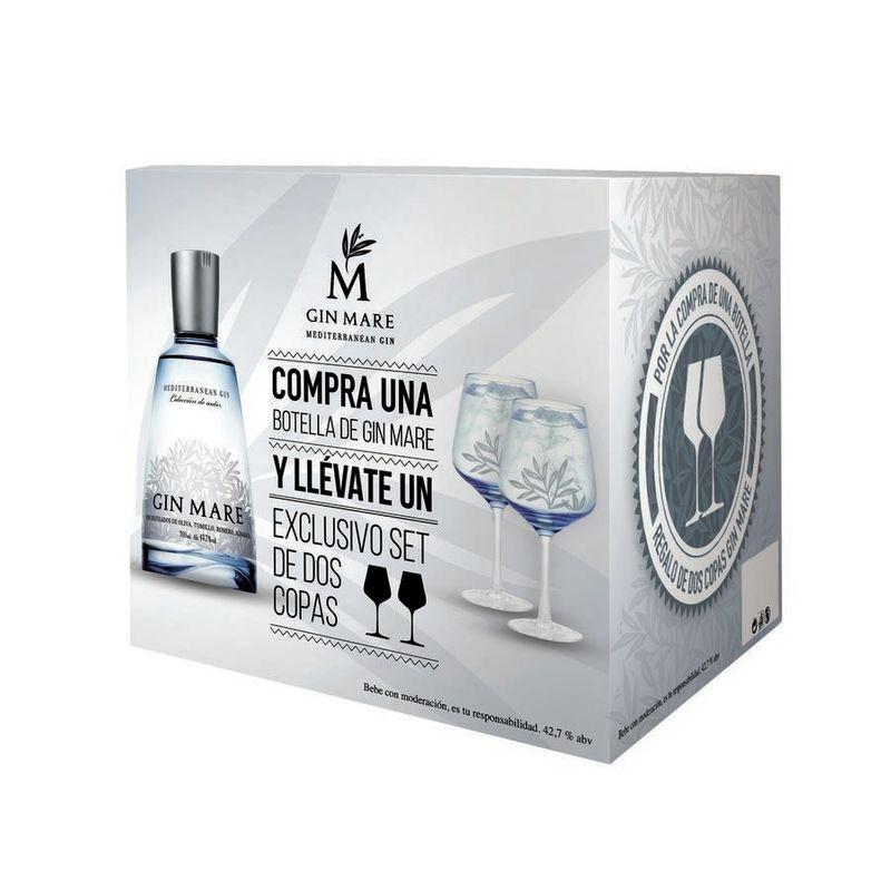 Gin Mare GIFTPACK 2 FLESSEN + 4 GLAZEN - 70cl